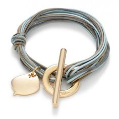 Multi leather bracelet with a leaf charm