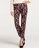 """Floral Print Shantung Ankle Pants - A slim silhouette popped in a festive floral print makes these shantung ankle pants irresistibly flattering. Contoured waistband. Front zip with double hook-and-bar closure. Back besom pockets. Side slits. 28"""" inseam."""