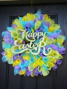 Deco Poly Mesh Spring Easter Door Wreath