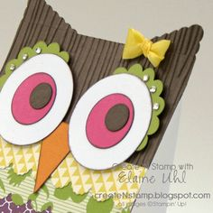DIY Owl Birthday Invite for girl. Create 'N Stamp with Elaine Uhl