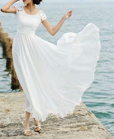White Lace Maxi Dress Maxi Chiffon Dress Short sleeved Extra Large Hem Wedding Dress Beach Dress Elegant Dress Beautiful