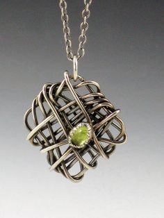 Necklace | Michele Grady. Sterling silver and green Citrine