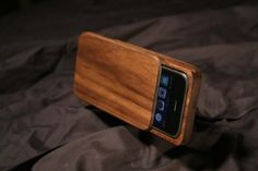 wooden iPhone case with sliding face cover