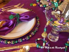 Mardi Gras Tablescape from A Walk in the Countryside