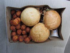 Mini burgers with sweet potato tots from Krush Burger