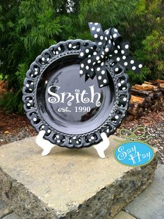 Monogram Ribbon Plate for Wedding Gift or Anniversary