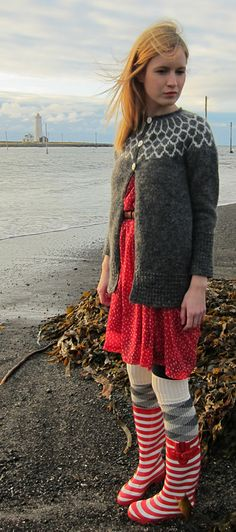 Ragga's Iðunn cardigan: Knitty Winter 2012  Icelanders rock the stripes, spots and lopi!