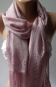 Pink   Elegance  Shawl / Scarf with Lacy Edge by womann on Etsy, $19.90