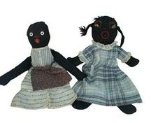 Late 19th  century two  Black Dolls  with fabric dress and apron 1860's ,