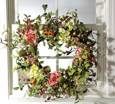 Hydrangea Wreath Fruit and Flower wreath for front door