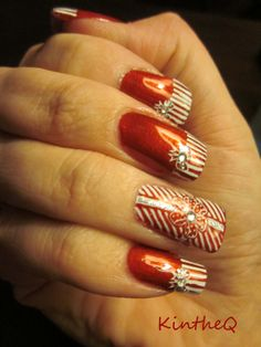 """""""Tied with a Bow"""" - Created for a MoYou London contest. OPI """"Danke Shiny Red"""" stamped with Konad white polish using MoYou's Festive Plate 03 XL & Frenchy Plate 03.  #nails #nailart #moyoulondon #christmas"""