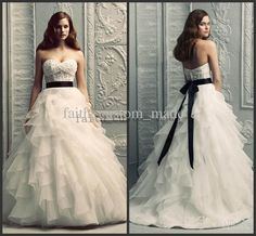 Wholesale Bridal Dresses - Buy Chic A Line Wedding Dresses Sweetheart Layered Ruffles Lace Bodice Applique Black Ribbon Bridal Dresses Bridal Gowns Paloma Blanca 4208, $181.82 | DHgate