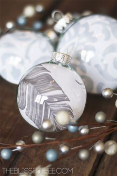 DIY Glass Ornaments with patterns in them