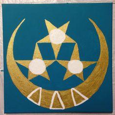 Canvas, pin stars and crescent moon, Tri delta, delta delta delta, gold, crafts tri delta crafts, tridelta, crescent moon