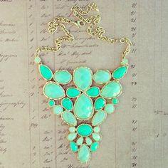 Ocean Treasure Necklace fashion, statement necklaces, color, treasur, outfit, mint, aqua, bubble necklaces, chunky necklaces