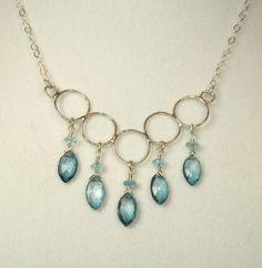necklac sterl, forevadesign, blue quartz, blue apatit, apatit necklac