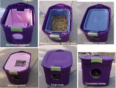 For those who are wondering how they can help outdoor cats in bad weather if they truly can't take them in (even just for overnight), check out this pic on how to create simple shelters from storage bins. Great way to love animals!