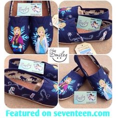 Disney Frozen Elsa, Anna, Olaf Hand Painted Toms/Vans