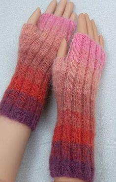 Kid Merino Fingerless Gloves in Rainbow Stripes - Crystal Palace Yarns