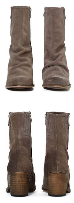 Slouchy Stacked Heel Boots