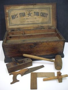 """Antique Childs Carpenter's Toy Chest w/Tools Circa 1900-1910 """"The Boys Star"""""""