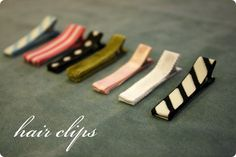 Ribbon-covered hair clips...for when the little girl grows some hair!