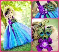 Couture Peacock Tutu Dress, Peacock Pageant Flower Girl Dress, Turquoise Purple Tutu Dress
