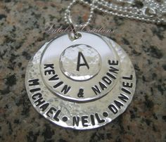 Family Love Necklace - Personalized Hand Stamped