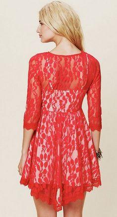 coral lace dress. love!