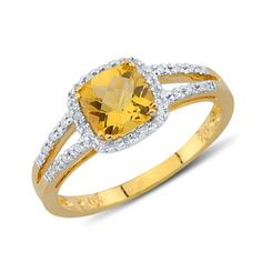 Cushion Cut Citrine Round Diamond Gemstone Ring In 14K Yellow Gold    $331.00