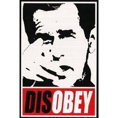 poster crack, war poster, bush, disobey print
