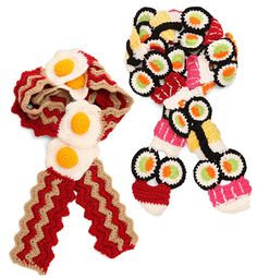 twinkie chan sushi scard and bacon and eggs scarf