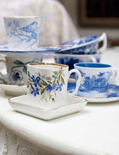 Blue tea cups.