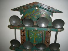 Antique 18th Century Dutch Pewter Spoon And Folk Art Painted Pine Rack - inspiration only - love the general style as a spoon rack to display decorative spoons - #BirdHouse #SpoonRack #HomeDecor #FolkArt - tå√