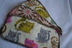 Cat Breeds Flannel Cloth Diaper Wipes 3ct  half by LagamorphLounge, $2.25
