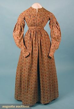 Augusta Auctions, March/April 2005 Vintage Clothing & Textile Auction, Lot 507: Printed Cotton Day Dress, C 1838
