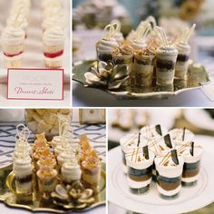 Dessert shots are a delicious (and cute) alternative to cake. Guests can eat as they mingle. No need to sit at the table with a plate and fork. Get up and go!
