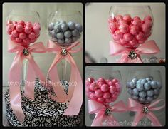 Pretty wine glass, ribbon in school colors and candy for an elegant look at your graduation party.