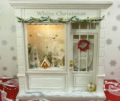 :Fates smile 'white Christmas' little houses, dollhous, doll hous, fate smile, miniatur christma, white christmas, hous christma, full house, shop windows
