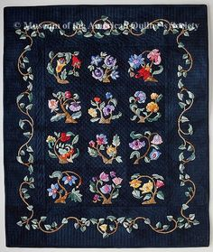 The Quilt Index Miniature 18 in by 21 inches 2000 Marie Moore, Hand Applique