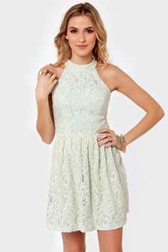 Ice Queen Blue and Cream Lace Dress #lulusholiday