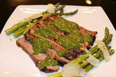 Colombian style marinated flank steak with chimichurri sauce