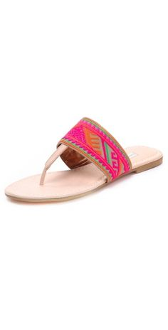 Embroidered leather Cynthia Vincent flip flops...LOVE