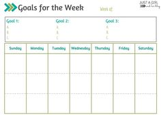 Goals for the Week - Free Printable Calendar