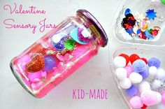 Kid-Made Valentine Sensory Jars from Blog Me Mom