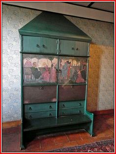 Red House (a Grade I Listed Building), Bexleyheath ~ the painted Settle-cum-Cupboard in the Hall