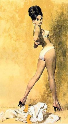 vintag, inspir, pinup girl, pulp, pinup art, mcginni art, robert mcginnis, modesti blais, illustr