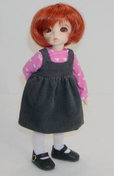 Little Fee models a Corduroy Jumper  for Tiny BJDs