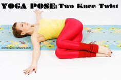 TWO KNEE TWIST Benefits: Stretches lower back, thighs, shoulder and chest; helps with lower back pain; Improves digestion; stretches and invigorates the internal organs. See more benefits of yoga by clicking.