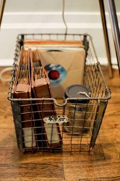 vintage metal locker basket